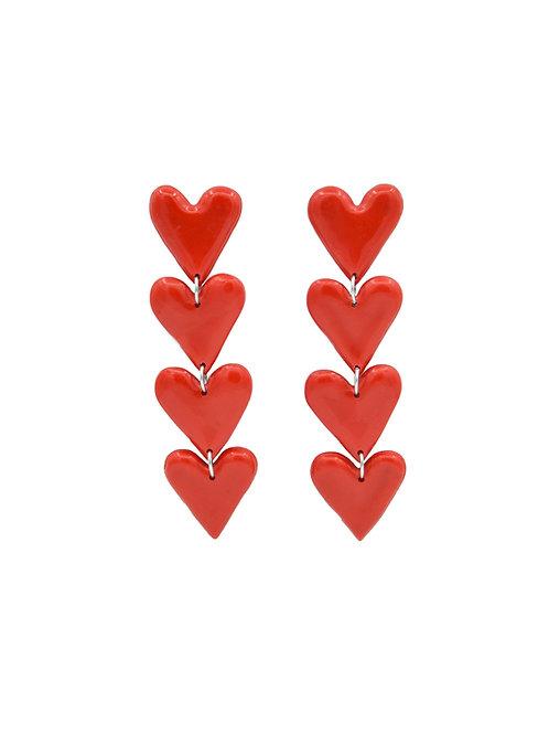 Pendientes corazones rojos (Largaria ajustable)