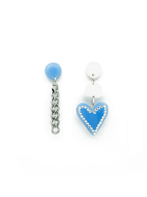 Pendientes corazón brilli + cadena azul bebé