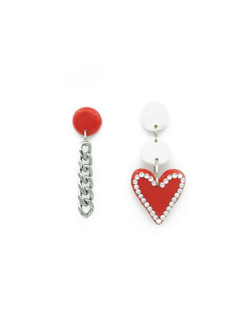 Pendientes corazón brilli + cadena rojo