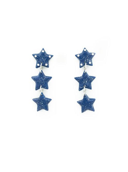 Pendientes estrellas azul marino