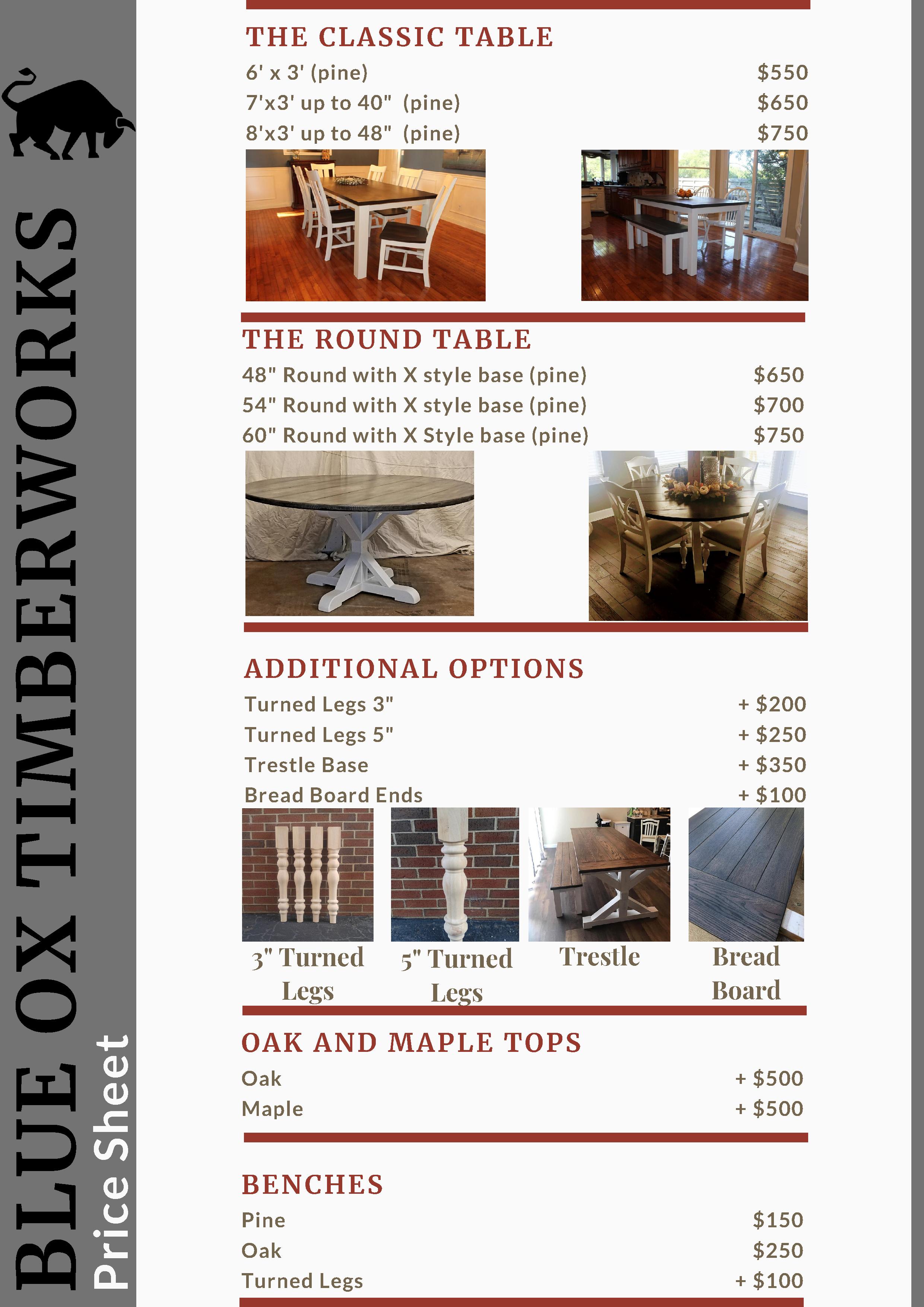 Blue Ox Timberworks 2020 Price Sheet