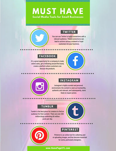 INFO GRAPHIC SOCIAL MEDIA TOOLS FOR SMALL BUSINESS