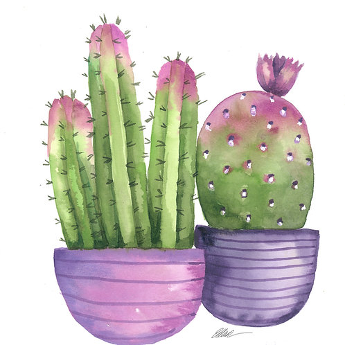 Potted cactus in purple pots original watercolor painting