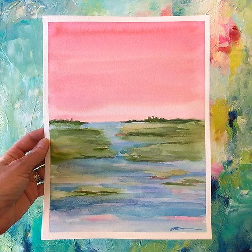 Sunset shimmer Original watercolorr