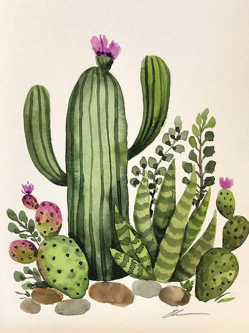 Cactus Garden Original Watercolor painting