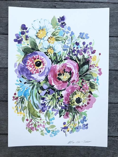 Watercolor Wildflowers  in bloom