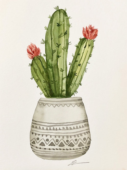 Original watercolor cactus in gray pot no. 2