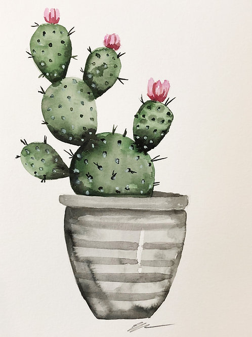 Cactus in gray pot original watercolor painting