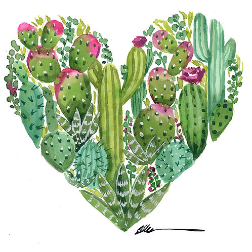 Cactus Heart original watercolor painting
