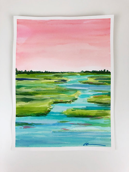 Sunset on the river- Original watercolor