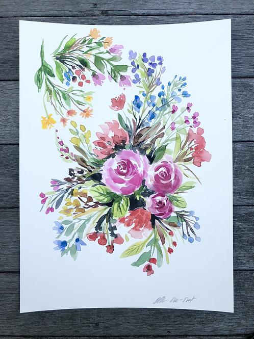 Watercolor Wildflowers in July