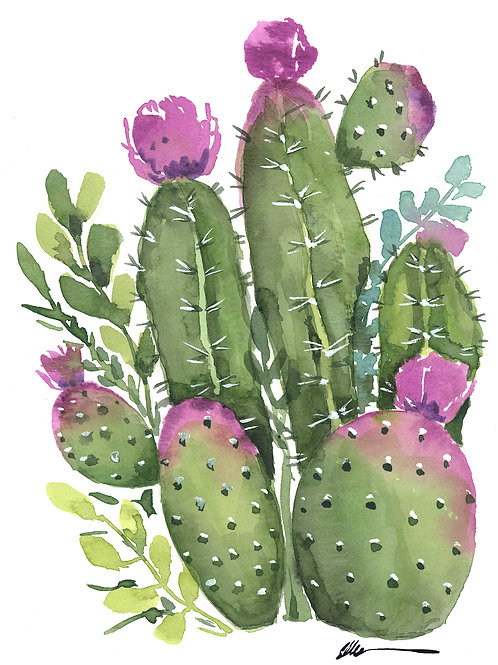 Cactus Garden with purple flowers original watercolor