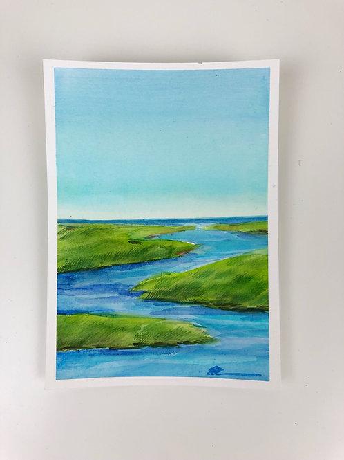 South River Original watercolor painting
