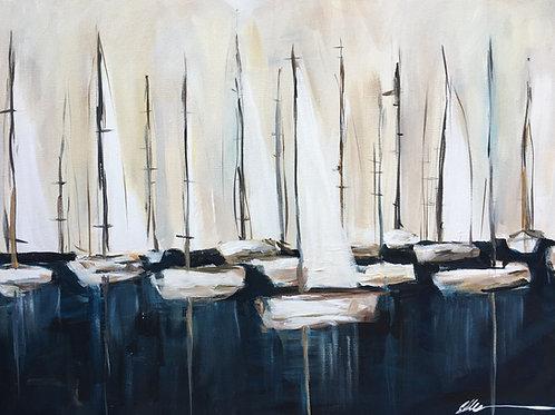 Sailboats in deep blue