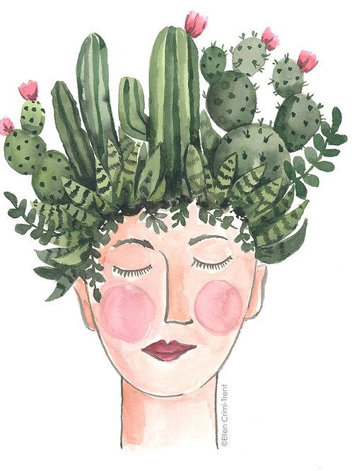 Cactus Lady Original watercolor