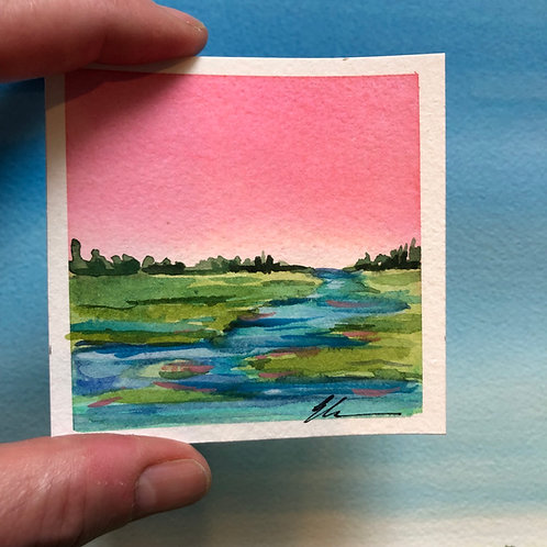 Mini coastal abstract watercolor no. 1