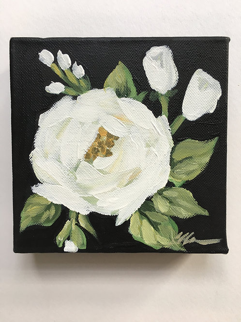 White rose small painting #1