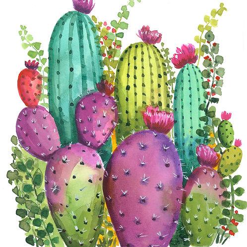 Original watercolor Colorful Cactus Garden no. 1