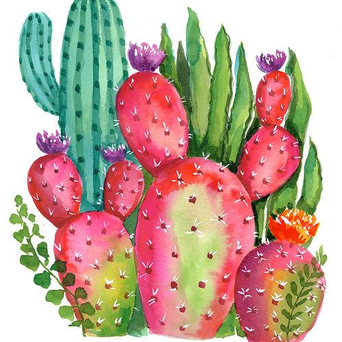 Original watercolor bright Cactus garden no. 2
