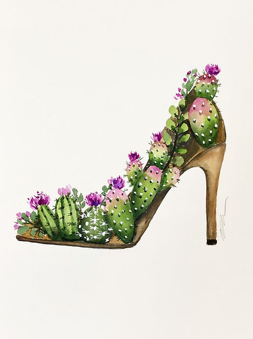 Original watercolor Cactus shoe painting