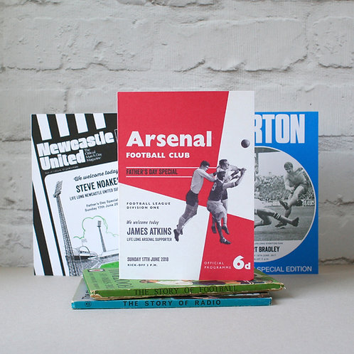 Personalised Football Programme Father's Day Card