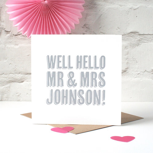 Well Hello! Personalised Wedding Card