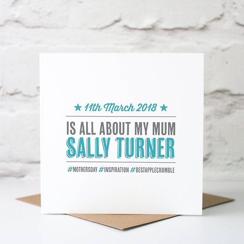 Personalised 'Hashtag' Mother's Day Card