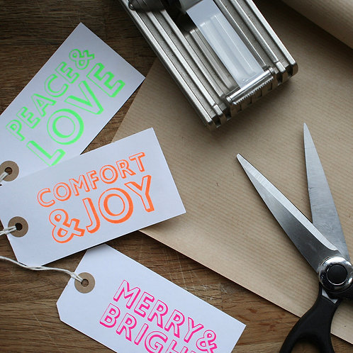 Neon Typographic Gift Tags x 6