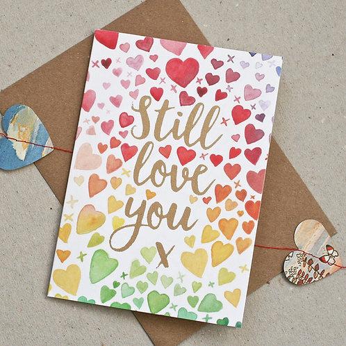 Watercolour Hearts Valentine's Card