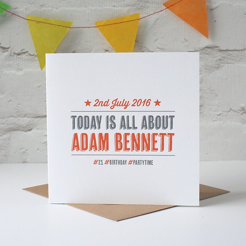 Today Is All About... Personalised Card