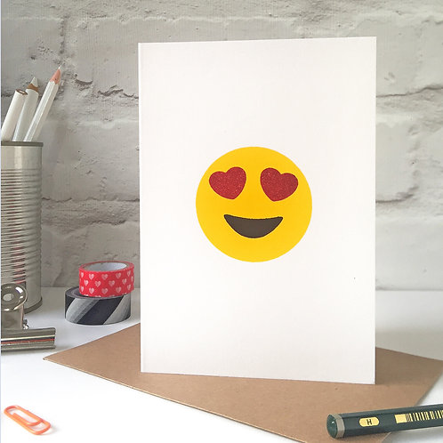 Glitter Love Eyes Emoji  Valentine's Card