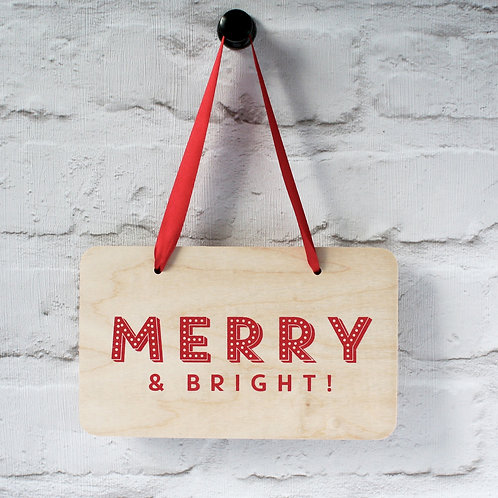 Merry & Bright Hanging Christmas Sign