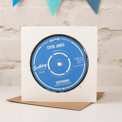 Personalised Record Label Birthday Card