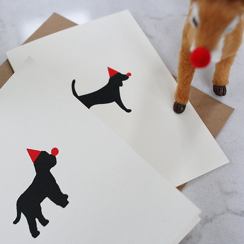 Red Nose Doggy Christmas Card