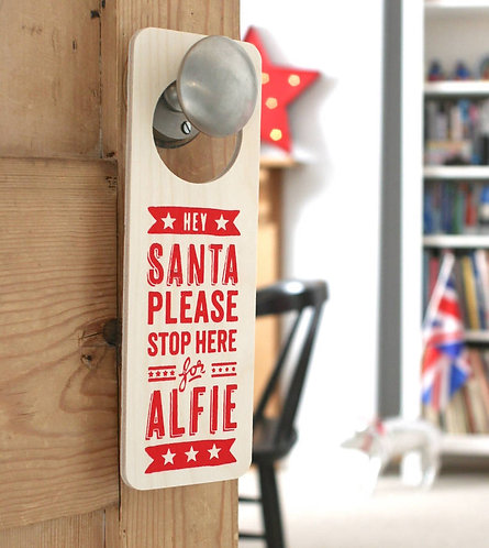 Personalised Santa Stop Here Door Sign