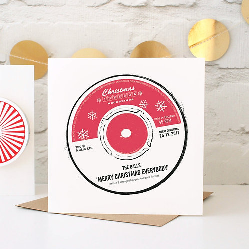 Personalised Christmas Record Label Card
