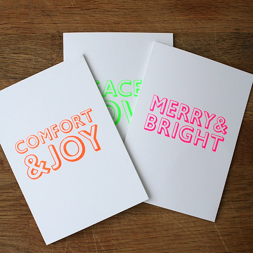 Neon Typographic Christmas Cards