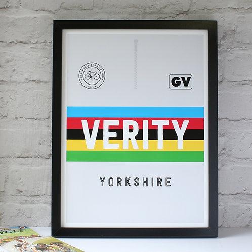 Personalised World Championship Cycling Rainbow Jersey Print