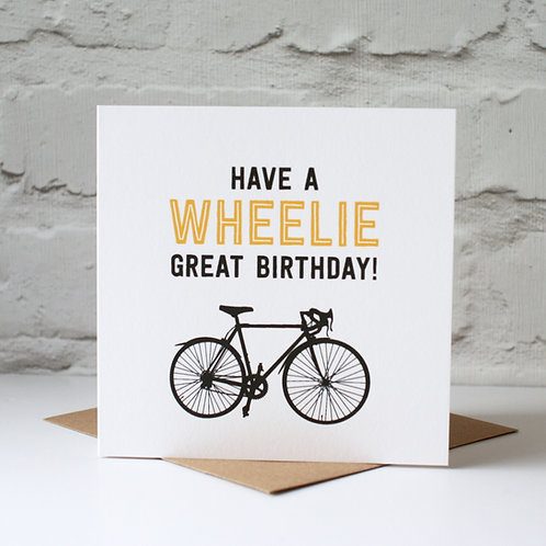 Wheelie Great Racer Birthday Card