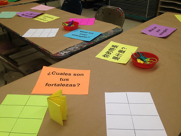 Set up for a zine-making workshop at the Brooklyn Museum