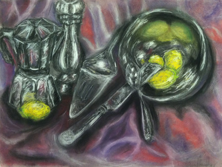 Still Life of Metal Kitchenware with Lemons