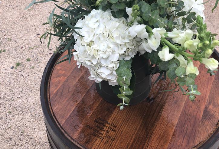 6 wine barrel drink tables
