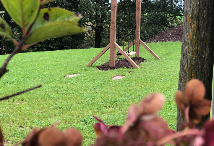 Swingset with wooden seats