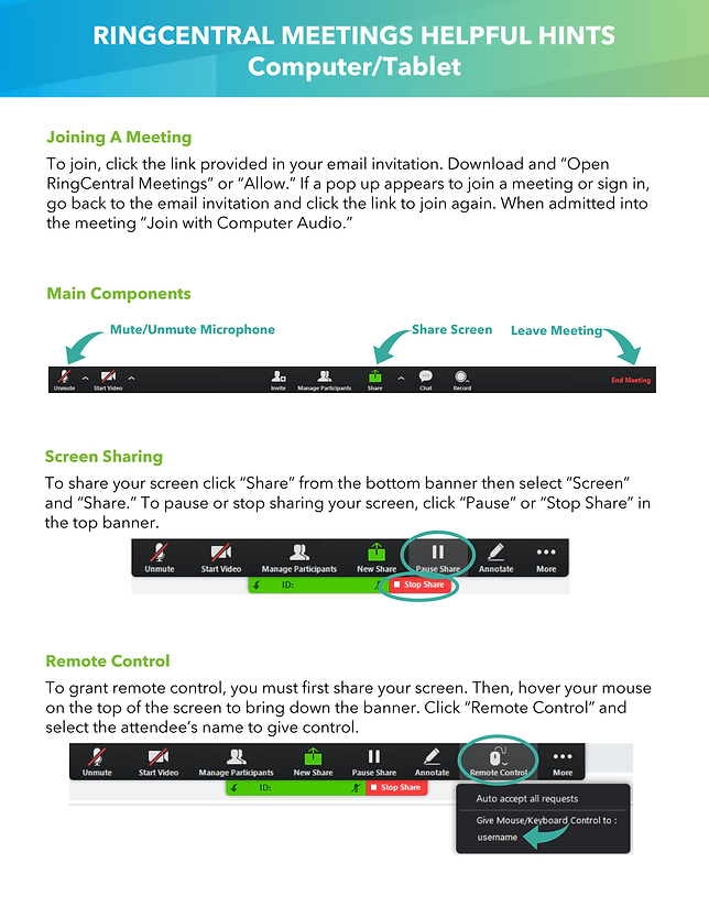 RingCentral Meetings Helpful Hints - Par