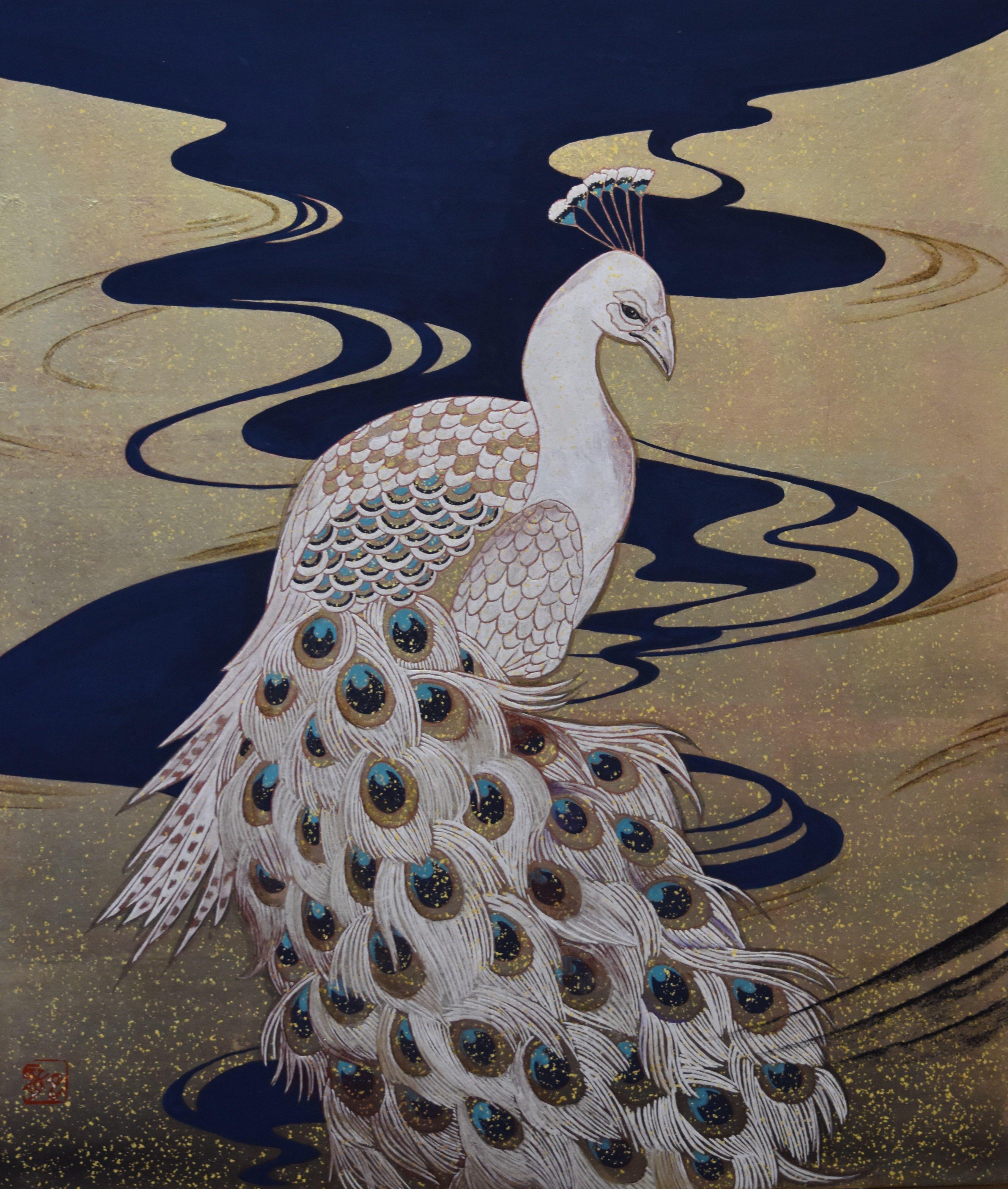 白孔雀図 北澤龍