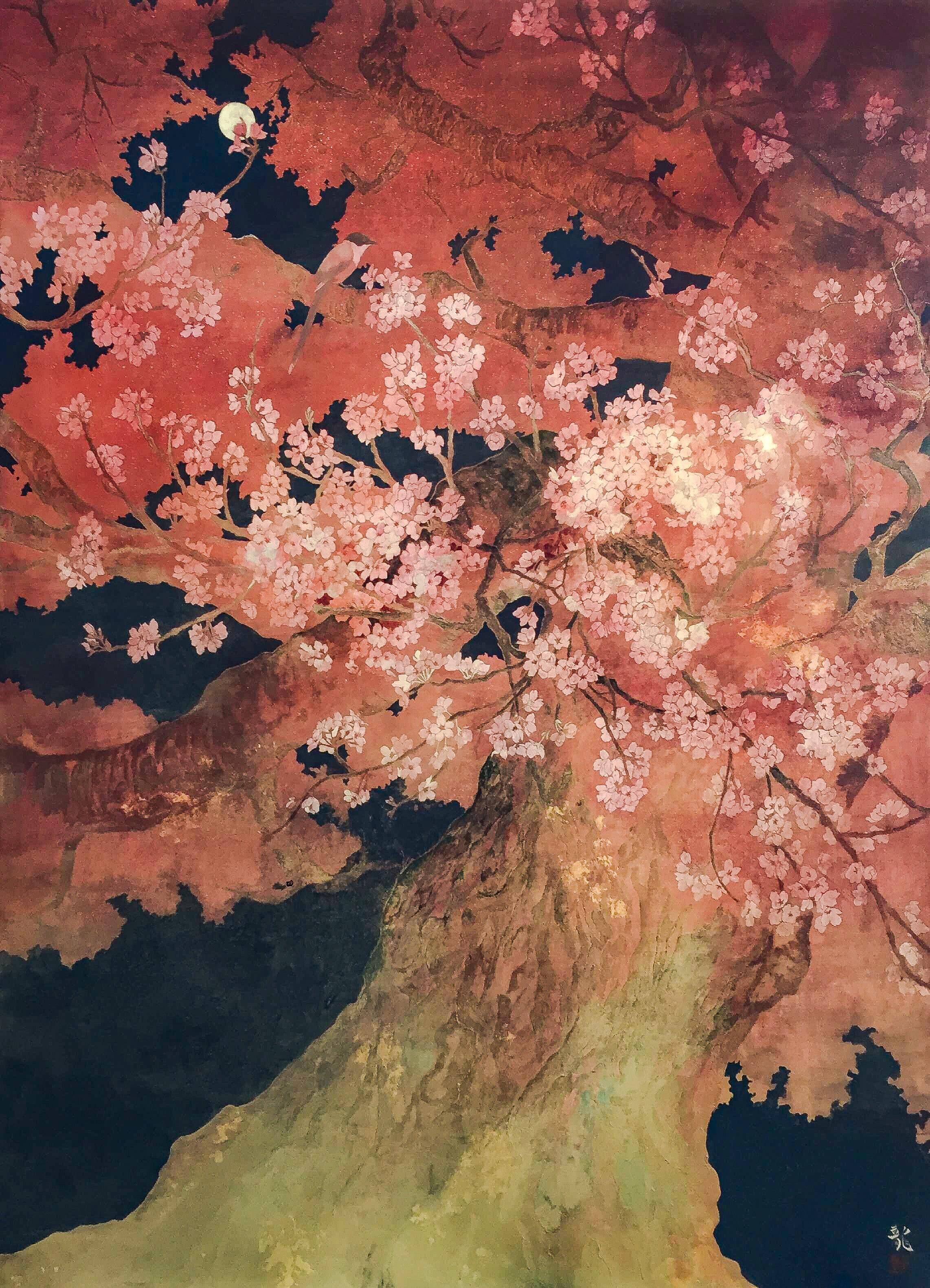 月夜の花見客 北澤龍
