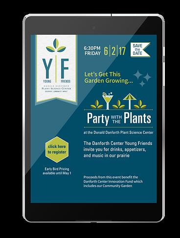 Donald Danforth Plant Science center, Eblast design, happy hour, design, branding, evite, invite design, party with the plants, logo design, theme logo design, branding, e-communications