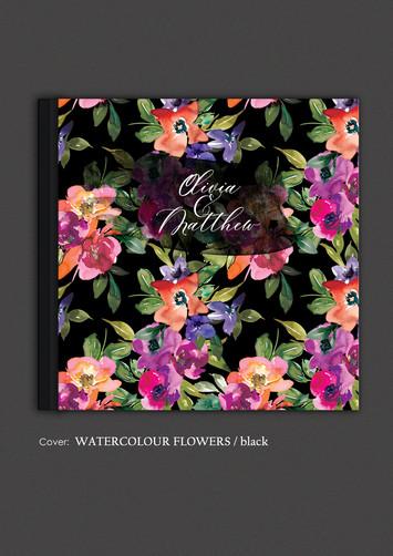 Watercolour Flowers / black