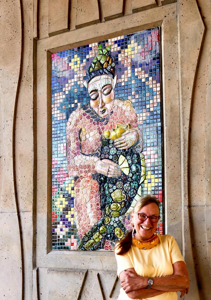 Artist Cheryl Tall wirh Oceanna Mural