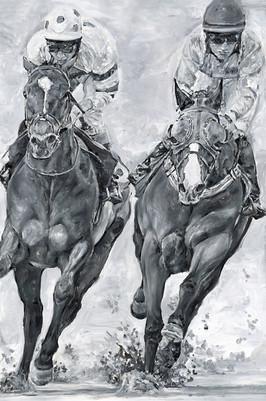 Black & White Racehorses